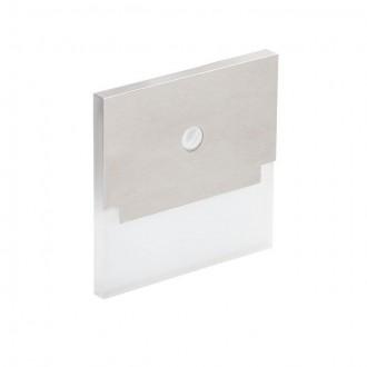 KANLUX 27375 | Kanlux-Sabik Kanlux zabudovateľné svietidlo štvorec pohybový senzor 75x75mm 1x LED 15lm 6500K zušľachtená oceľ, nehrdzavejúca oceľ, priesvitné
