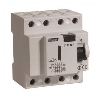 KANLUX 4485 | Kanlux prúdový chránič (FI relé) DIN35 modul, 4P svetlo šedá, čierna, žltá