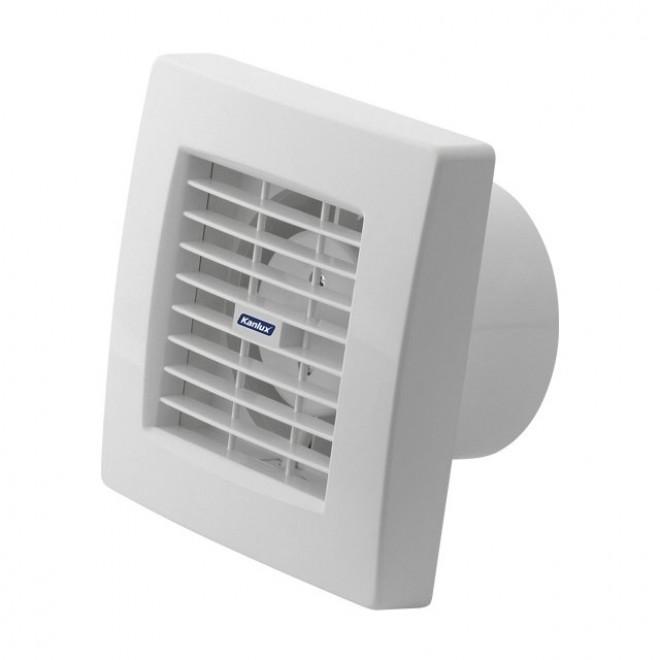 KANLUX 70925   Kanlux trubkový ventilátor Ø100 100m3/h štvorec prepínač na ťah s automatickou žalúziou, tepelná poistka IP24 UV biela