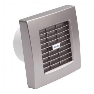 KANLUX 70974 | Kanlux trubkový ventilátor Ø99 100m3/h štvorec časový spínač s automatickou žalúziou, tepelná poistka IP24 UV strieborný