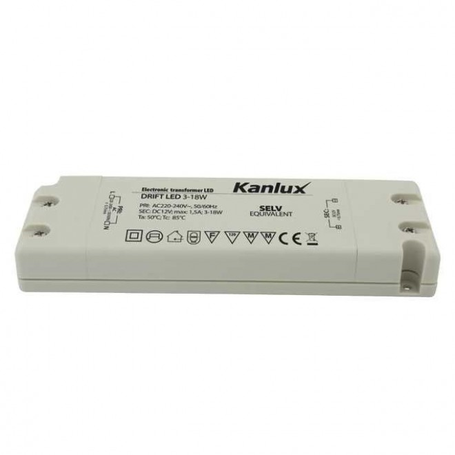 KANLUX 8550   Kanlux LED napájací zdroj 12V DC 3-18W 1,5A obdĺžnik biela