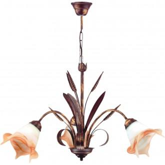 LAMPEX 020/3 B+M | Klos Lampex luster svietidlo 3x E27 starožitná červená meď, alabaster, jantárové