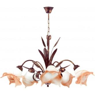 LAMPEX 020/5 B+M | Klos Lampex luster svietidlo 5x E27 starožitná červená meď, alabaster, jantárové