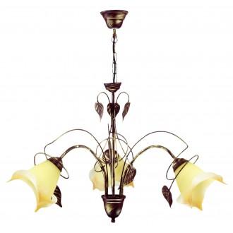 LAMPEX 025/3 B+Z | Roslina Lampex luster svietidlo 3x E27 antické hnedé, jantárové