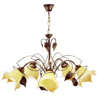 LAMPEX 025/5 B+Z | Roslina Lampex luster svietidlo 5x E27 antické hnedé, jantárové