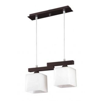 LAMPEX 048/2 WEN | Cubo-LA Lampex visiace svietidlo 2x E27 wenge, chróm, biela