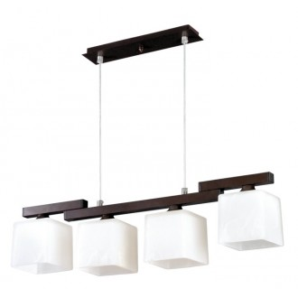 LAMPEX 048/4 WEN | Cubo-LA Lampex visiace svietidlo 4x E27 wenge, chróm, biela