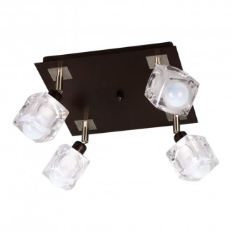 LAMPEX 049/4 WEN | FoRma-LA Lampex stropné svietidlo 4x E14 wenge, chróm, priesvitné
