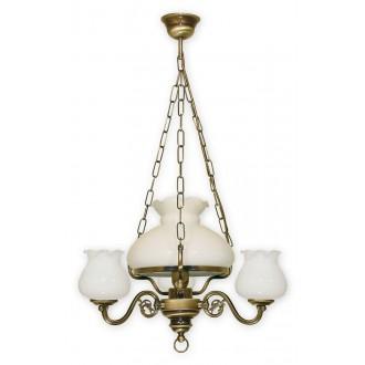 LEMIR 010/W4 | Alladyn Lemir luster svietidlo 1x E27 + 3x E14 bronzová, biela