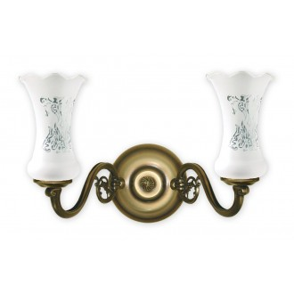 LEMIR 421/K2 | RetroPlus Lemir rameno stenové svietidlo 2x E14 bronzová, biela