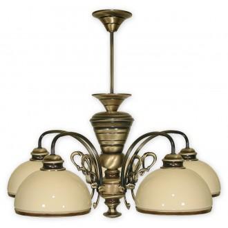 LEMIR 515/W5 | Delta Lemir luster svietidlo 5x E27 bronzová, krémové