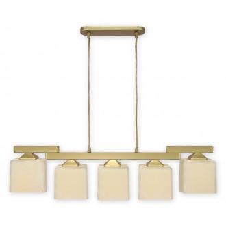 LEMIR O1065/W5 ZL | KostkaZL Lemir visiace svietidlo 5x E27 zlatý, krémové