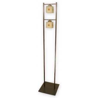 LEMIR O1199/L2 BR | Echo Lemir stojaté svietidlo 162cm nožný vypínač 2x E27 hnedá, antická zlatá , krémové