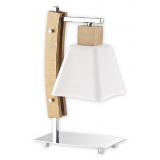 LEMIR O1478 DB | Dreno Lemir stolové svietidlo 34cm prepínač na vedení 1x E27 chróm, dub, biela