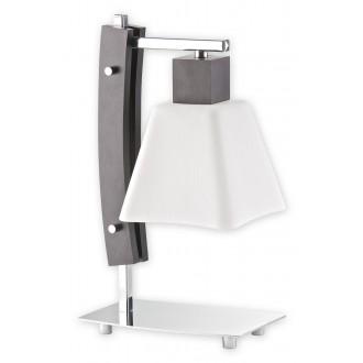 LEMIR O1478 WG | Dreno Lemir stolové svietidlo 34cm prepínač na vedení 1x E27 chróm, wenge, biela