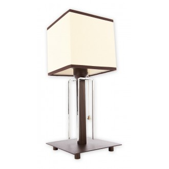 LEMIR O1948 L1 RW | Zenit Lemir stolové svietidlo 37cm prepínač na vedení 1x E27 starožitné wenge, chróm, biela