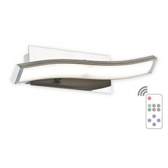 LEMIR O2510 K1 SAT + PILOT-WW | Linea-LED Lemir stenové svietidlo diaľkový ovládač regulovateľná intenzita svetla 1x LED 540lm 3000K satén chróm, chróm, biela