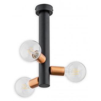 LEMIR O2823 W3 CZA | Foco Lemir stropné svietidlo 3x E27 matná čierna, mosadz