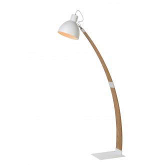 LUCIDE 03713/01/31 | Curf Lucide stojaté svietidlo 143cm prepínač sklápacie 1x E27 drevo, biela