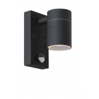 LUCIDE 14866/05/30 | Arne Lucide rameno stenové svietidlo pohybový senzor, svetelný senzor - súmrakový spínač 1x GU10 350lm 2700K IP44 čierna