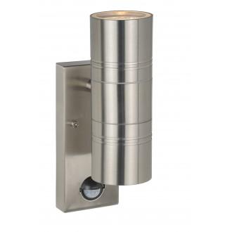 LUCIDE 14866/10/12 | Arne Lucide rameno stenové svietidlo pohybový senzor, svetelný senzor - súmrakový spínač 2x GU10 350lm 2700K IP44 chróm
