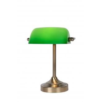 LUCIDE 17504/01/03 | BankerL Lucide stolové svietidlo 30cm prepínač 1x E14 bronzová, zelená