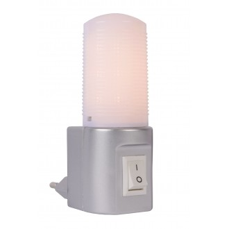 LUCIDE 22202/01/36 | Led-Night-Light Lucide nočné svetlo svietidlo prepínač 1x LED 50lm 2700K strieborný, opál