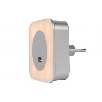 LUCIDE 22203/01/36 | Led-Night-Light Lucide nočné svetlo svietidlo USB prijímač 5x LED 50lm 2700K strieborný, opál