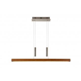 LUCIDE 36417/30/72 | Geena Lucide visiace svietidlo prepínač s reguláciou svetla protiváhové, nastaviteľná výška 1x LED 2550lm 2700K drevo, chróm