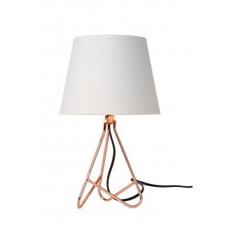 LUCIDE 47500/81/17 | Gitta Lucide stolové svietidlo 29cm prepínač na vedení 1x E14 bronzová, biela