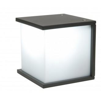LUTEC 5184601118 | Box-Cube Lutec stenové svietidlo 1x E27 IP44 antracitová sivá, opál