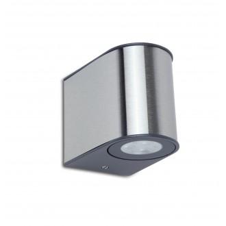 LUTEC 5189002118 | Gemini Lutec stenové svietidlo 1x LED 500lm 4000K IP54 strieborno sivá, priesvitné