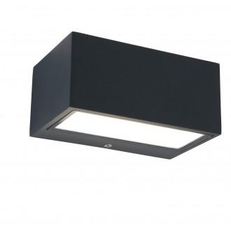 LUTEC 5189102118 | Gemini Lutec stenové svietidlo 1x LED 500lm 4000K IP54 antracitová sivá, priesvitné