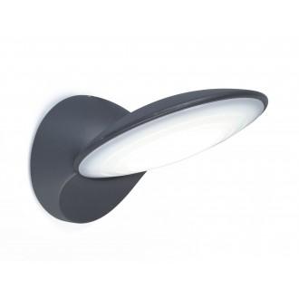 LUTEC 5189601118 | Tona Lutec rameno stenové svietidlo 1x LED 600lm 3000K IP44 antracitová sivá, opál