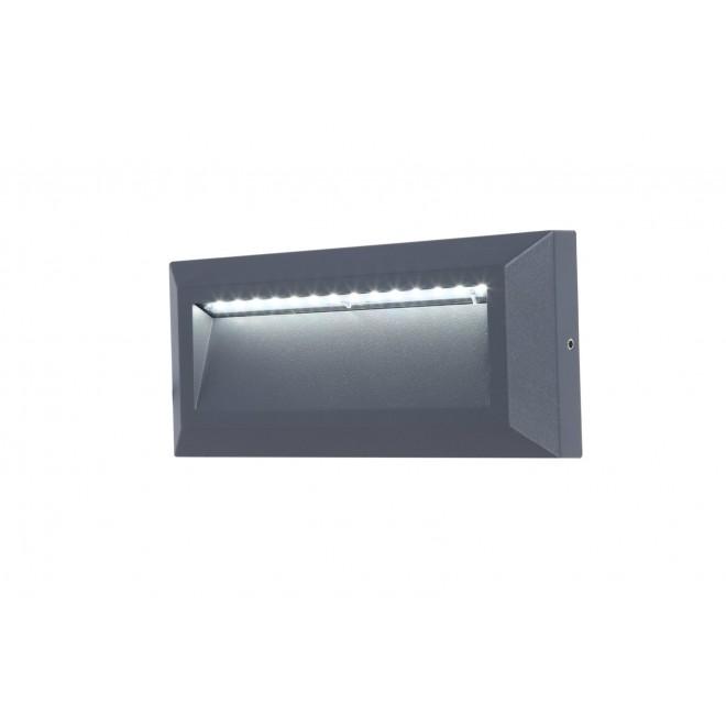 LUTEC 5191602118 | Helena-LU Lutec stenové svietidlo 1x LED 400lm 4000K IP54 antracitová sivá, opál