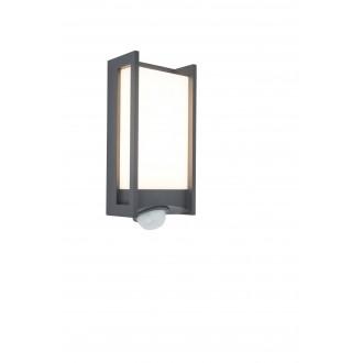 LUTEC 5193002118 | Qubo Lutec stenové svietidlo pohybový senzor, svetelný senzor - súmrakový spínač otočné prvky 1x LED 800lm 3000K IP54 antracitová sivá, opál