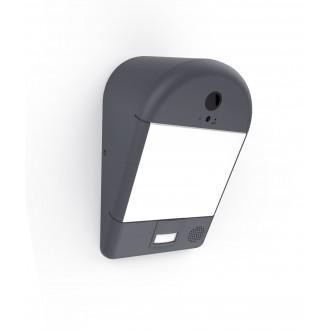LUTEC 5194901118 | Camera_Light-Mimo Lutec svietidlo skamerou stenové pohybový senzor, svetelný senzor - súmrakový spínač reproduktor, mikrofón, regulovateľná intenzita svetla, Wifi pripojenie 1x LED 1200lm 3000K IP54 tmavo sivé, opál