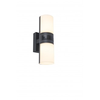 LUTEC 5198101118 | Cyra Lutec rameno stenové svietidlo otočné prvky 2x LED 1000lm 3000K IP54 tmavo sivé, opál