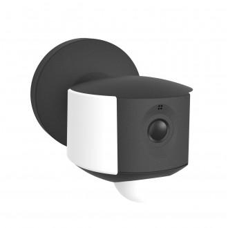 LUTEC 5198801330 | Camera_Light-Ara Lutec svietidlo skamerou stenové pohybový senzor, svetelný senzor - súmrakový spínač reproduktor, mikrofón, regulovateľná intenzita svetla, otočné prvky, Wifi pripojenie 1x LED 200lm 4000K IP44 tmavo sivé, opál