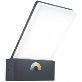 LUTEC 5289001118 | Pano Lutec rameno stenové svietidlo regulovateľná intenzita svetla, nastaviteľná farebná teplota 1x LED 1200lm 3000 <-> 5000K IP54 tmavošedá, opál