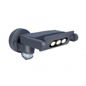LUTEC 5614404118 | Mini-LedspoT Lutec rameno stenové svietidlo pohybový senzor, svetelný senzor - súmrakový spínač otočné prvky 1x LED 605lm 4000K IP54 antracitová sivá