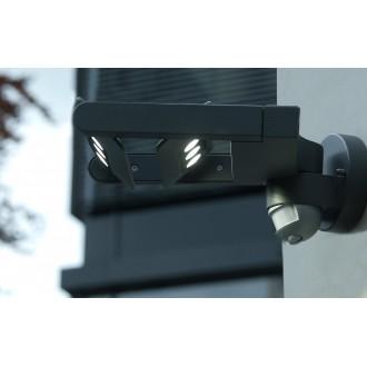 LUTEC 5614405118 | Mini-LedspoT Lutec rameno stenové svietidlo pohybový senzor, svetelný senzor - súmrakový spínač otočné prvky 2x LED 1210lm 4000K IP54 antracitová sivá