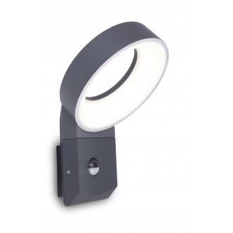 LUTEC 5616304118 | Meridian Lutec rameno stenové svietidlo pohybový senzor, svetelný senzor - súmrakový spínač 1x LED 800lm 3000K IP54 antracitová sivá