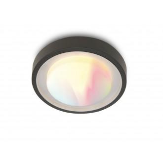 LUTEC 6335142118 | WiZ-Origo Lutec stenové, stropné WiZ múdre osvetlenie regulovateľná intenzita svetla, nastaviteľná farebná teplota, meniace farbu, otočné prvky, Wifi pripojenie 1x LED 1000lm 2200 <-> 6500K IP54 tmavo sivé, opál