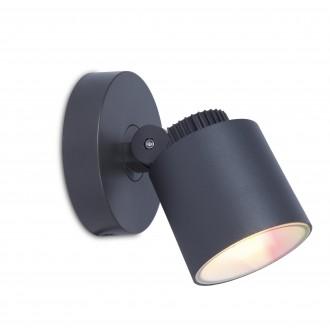 LUTEC 6609204118 | WiZ-Explorer Lutec spot WiZ múdre osvetlenie regulovateľná intenzita svetla, nastaviteľná farebná teplota, meniace farbu, otočné prvky, Wifi pripojenie 1x LED 430lm 2200 <-> 6500K IP54 tmavo sivé