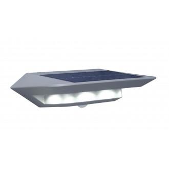 LUTEC 6901401337 | Ghost-Solar Lutec rameno stenové svietidlo pohybový senzor, prepínač slnečné kolektorové / solárne 1x LED 260lm 4000K IP44 strieborno sivá, priesvitné