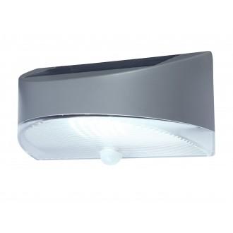 LUTEC 6901501000 | Pole_Drop_Bread_Zeta Lutec stenové svietidlo pohybový senzor, prepínač slnečné kolektorové / solárne 1x LED 100lm 4000K IP44 strieborno sivá, priesvitné