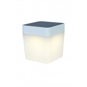 LUTEC 6908001331 | Table-Cube Lutec prenosné, stolové svietidlo dotykový prepínač s reguláciou svetla slnečné kolektorové / solárne, regulovateľná intenzita svetla 1x LED 100lm 3000K IP44 biela, opál