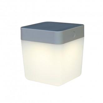 LUTEC 6908001337 | Table-Cube Lutec prenosné, stolové svietidlo dotykový prepínač s reguláciou svetla slnečné kolektorové / solárne, regulovateľná intenzita svetla 1x LED 100lm 3000K IP44 strieborno sivá, opál