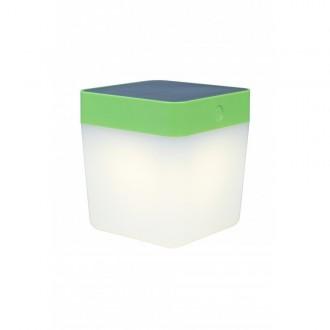 LUTEC 6908001339 | Table-Cube Lutec prenosné, stolové svietidlo dotykový prepínač s reguláciou svetla slnečné kolektorové / solárne, regulovateľná intenzita svetla 1x LED 100lm 3000K IP44 zelená, opál